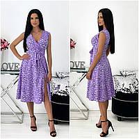 Літнє жіноче плаття в квіточку міді лавандова АА/-111440