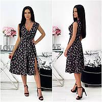 Літнє жіноче плаття в квіточку міді чорне АА/-111440