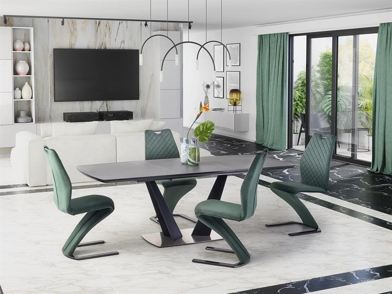 Стол раскладной FANGOR 160(220)х90 темно-серый/черный (Halmar)