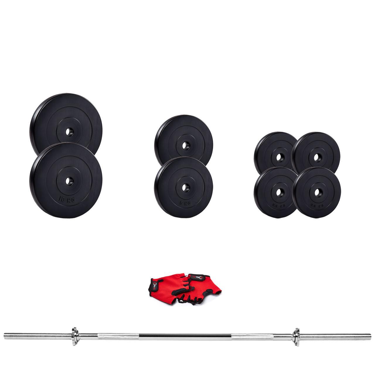 Наборная штанга и гантели Iron Body 50 кг с надежными битумными дисками + перчатки для домашнего жима