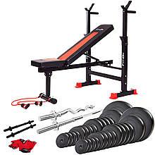Многофункциональный спортивный набор скамья тренировочная Fit-On FN-S101 + штанга и гантели 140 кг