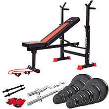 Качественная скамья тренировочная Fit-On FN-S101 + штанга и гантели 105 кг для домашних тренировок