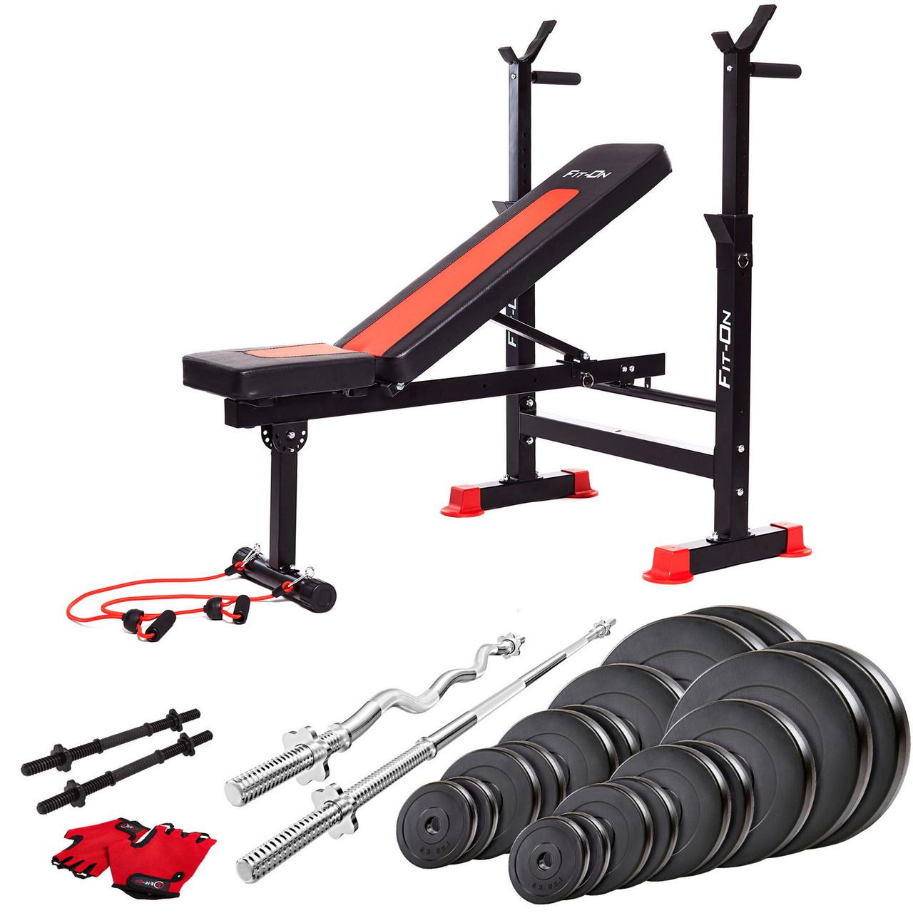 Функціональна лава тренувальна Fit-On FN-S101 + штанга і гантелі 135 кг для зміцнення м'язів тіла