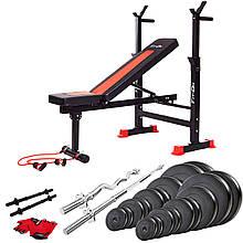 Функциональная скамья тренировочная Fit-On FN-S101 + штанга и гантели 135 кг для укрепления мышц тела