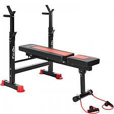 Функціональна лава тренувальна Fit-On FN-S101 + штанга і гантелі 135 кг для зміцнення м'язів тіла, фото 2