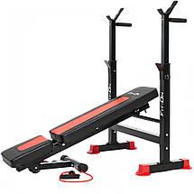 Функціональна лава тренувальна Fit-On FN-S101 + штанга і гантелі 135 кг для зміцнення м'язів тіла, фото 3