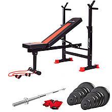 Скамья тренировочная массивная Fit-On FN-S101 + штанга 62 кг для тренировки мышц верхней и нижней части тела
