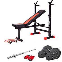 Спортивная тренировочная скамья Fit-On FN-S101 + штанга 50 кг для жима и фитнеса в домашних условиях