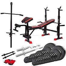 Набор скамья тренировочная Fit-On FN-S102 + штанга и гантели 140 кг для эффективного укрепления мышц