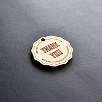 """Деревянные бирки """"THANK YOU"""". Ярлыки, лейбы, бирочки из дерева для упаковки крафтовых товаров ручной работы"""
