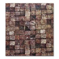 Декоративная 3Д-панель стеновая 10 шт. Кирпич Брусы под дерево геометрия самоклеющиеся 3d панели 700x770x5 мм, фото 1