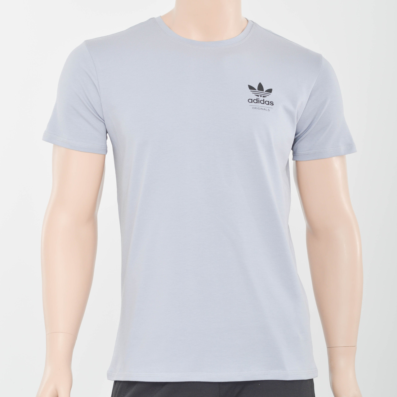 Мужская футболка с накаткой на груди  Adidas (реплика) светлый серый