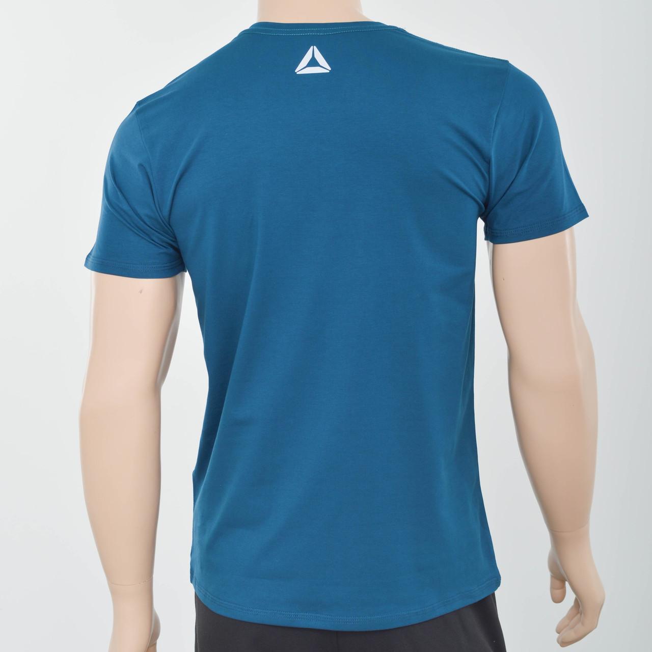 Чоловіча футболка з светоотражайками біля горловини і спині Reebok (репліка) Морська хвиля