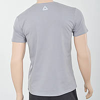Чоловіча футболка з светоотражайками біля горловини і спині Reebok (репліка) Світлий сірий