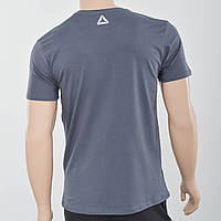 Мужская футболка с светоотражайками возле горловины и спине Reebok (реплика)  Темный серый