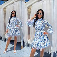 Сукня жіноча з кружевом під пояс блакитне (3 кольори) ЕФ/-12692