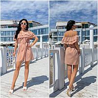 Повсякденне жіноче плаття з воланами бежеве ЕФ/-12690