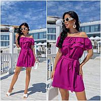 Повсякденне жіноче плаття з воланами фуксія ЕФ/-12690