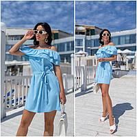 Повсякденне жіноче плаття з воланами блакитне ЕФ/-12690