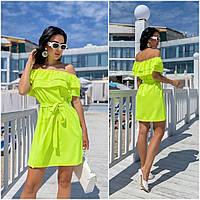 Повсякденне жіноче плаття з воланами салатова ЕФ/-12690