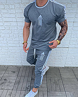 Серый летний спортивный костюм мужской Adidas | Турция | 100% хлопок