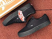 Чёрные мужские кеды Vans   Китай   текстиль + резина