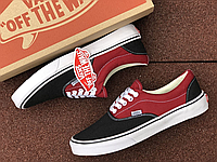 Чёрные с красным мужские кеды Vans | Китай | текстиль + резина, фото 1