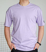 Базовая мужская футболка сиреневая трикотажная с коротким рукавом Футболка хлопок