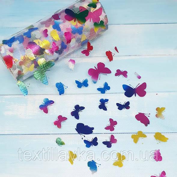 Фатин белый с разноцветными бабочками