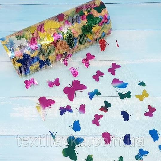 Фатин золотистий з різнокольоровими метеликами