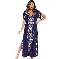 Туніка-плаття жіноча пляжна синя з білою вишивкою довга з розрізами, бавовняна опт, фото 1