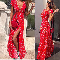 Женское летнее длинное платье в горох на запах черное синее красное пудра белое 42-44 44-46 46-48 48-50 50-52