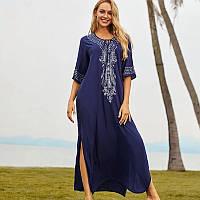Туника-платье пляжная синего цвета с вышивкой опт, фото 1
