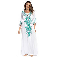 Туніка-плаття пляжна білого кольору з зеленою вишивкою опт, фото 1
