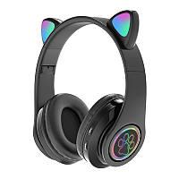 Беспроводные Наушники с Ушками с подсветкой + FM-Радио + MicroSD Cat Ear CXT-39 Bluetooth Черные
