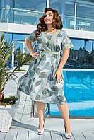 Легка батальна приталена сукня з рослинним принтом, фото 1