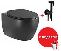 Унитаз подвесной Devit Acqua черный матовый 3020155B с сиденьям Soft Close + Гигиенический душ Paffoni Tweet