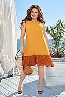 Батальное платье-трапеция свободного кроя с воланом, фото 1