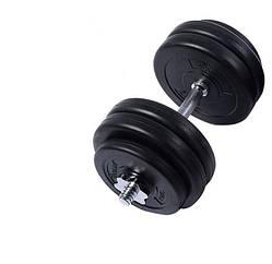 Гантель WCG 28 кг с металлическим грифом Черная 310.002.008, КОД: 1312324