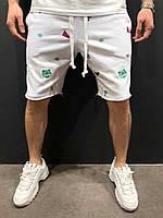 """Мужские летние коттоновые шорты """"Тигр"""" белые - S, M, L"""
