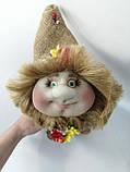 Кукла оберег Домовой с деньгами и ягодками зеленый декор, фото 4
