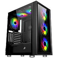 Корпус ATX 1STPlayer AR-7G 4*FAN140мм RGB LED 2*USB2.0 1*USB3.0 прозр. стенка чёрный новый
