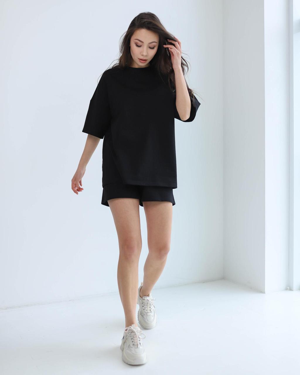 Костюм летний женский черный шорты + футболка
