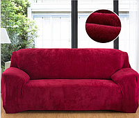 Еврочехол натяжной без юбки, стильные чехлы на диван без оборки HomyTex Замша Микрофибра Бордовый Разные цвета, фото 1