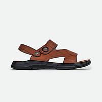 Мужские сандалии шлепки коричневые Fashion 7785
