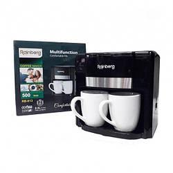 Кофеварка капельная для молотого кофе 500 Вт Rainberg Гермнания  Pro Черный + 2 Чашки