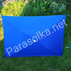 Зонт торговий прямокутний синій з анти-вітровим клапаном