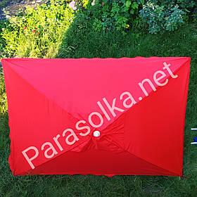 Зонт торговий червоний прямокутний з анти-вітровим клапаном
