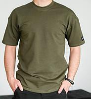 Базовая мужская футболка хаки трикотажная с коротким рукавом Футболка хлопок
