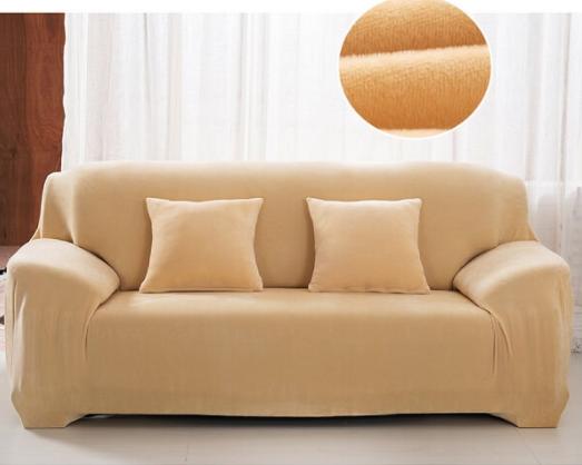 Чохол на диван натяжна на резинці, готові чохли на дивани HomyTex Замша Мікрофібра Бежевий